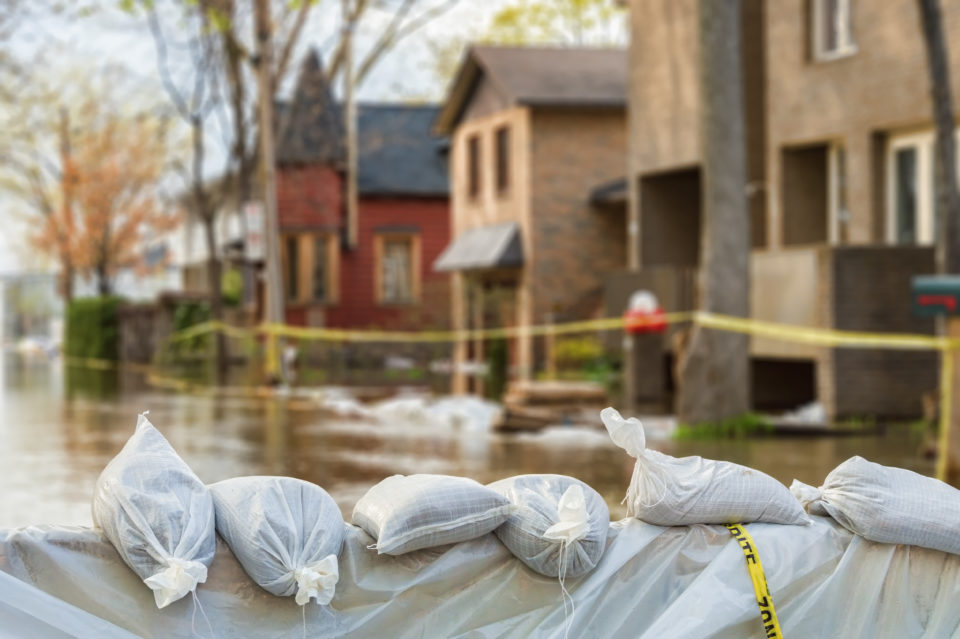 Sandbags blocking flood waters