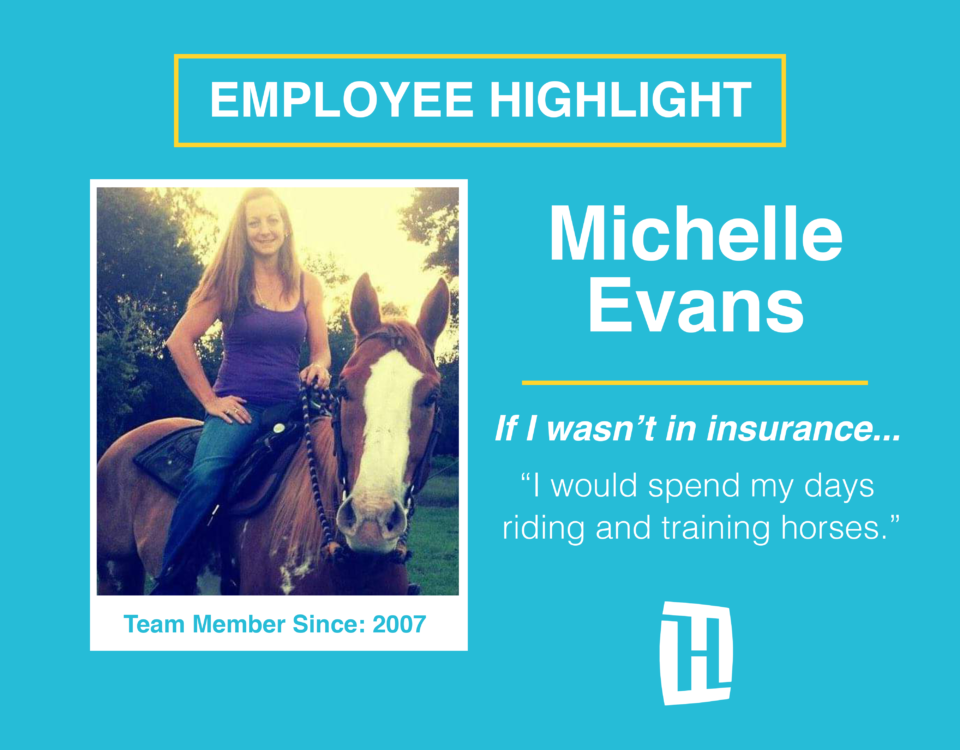 This is a picture of Michelle Evans riding a horse.